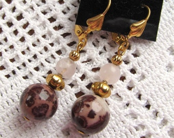 Earring Dangles of Rose Quartz and Leopardskin Jasper with Gold Plated Accents