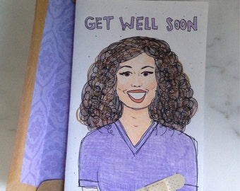 Customized Personalized Handdrawn Get Well Soon Card - Surgery Injury Illness OOAK Greeting Card with Lined Envelope