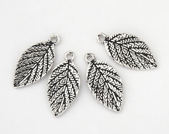 4 of 925 Sterling Silver Oxidized  Leaf Charms 6.5x14 mm. :th1911