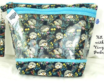 Garden Hedgehogs - Knitting Project Bag, Zippered Project Bag, Knitting Wedge Bag,  Vinyl Front Bag, Knot bag, Yarn Bag, knitting bag,