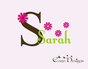 Personalized Monogram Name with Flowers, nursery, kids & teens room, custom removable decals stickers