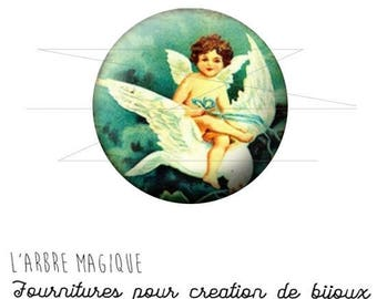 2 cabochons craft Angel Blues white ref 1452 - 16 mm-