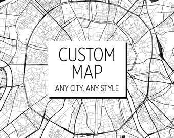 Custom Map Print - Custom City Map - Choose Your City Map Print