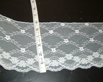 5.5 inch wide Bridal IVORY lace trim 15 yds     (6219)