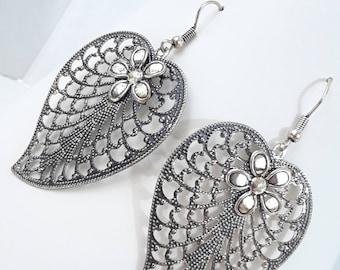 Antiqued Filigree Heart Leaf Earrings