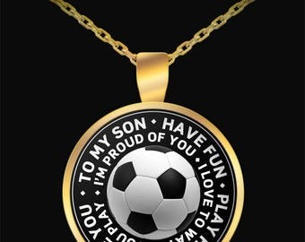 Soccer Gifts, Soccer Necklace, Gift for Son, Soccer Ball Necklace, Soccer Fan Gift, Soccer Jewelry, Football,