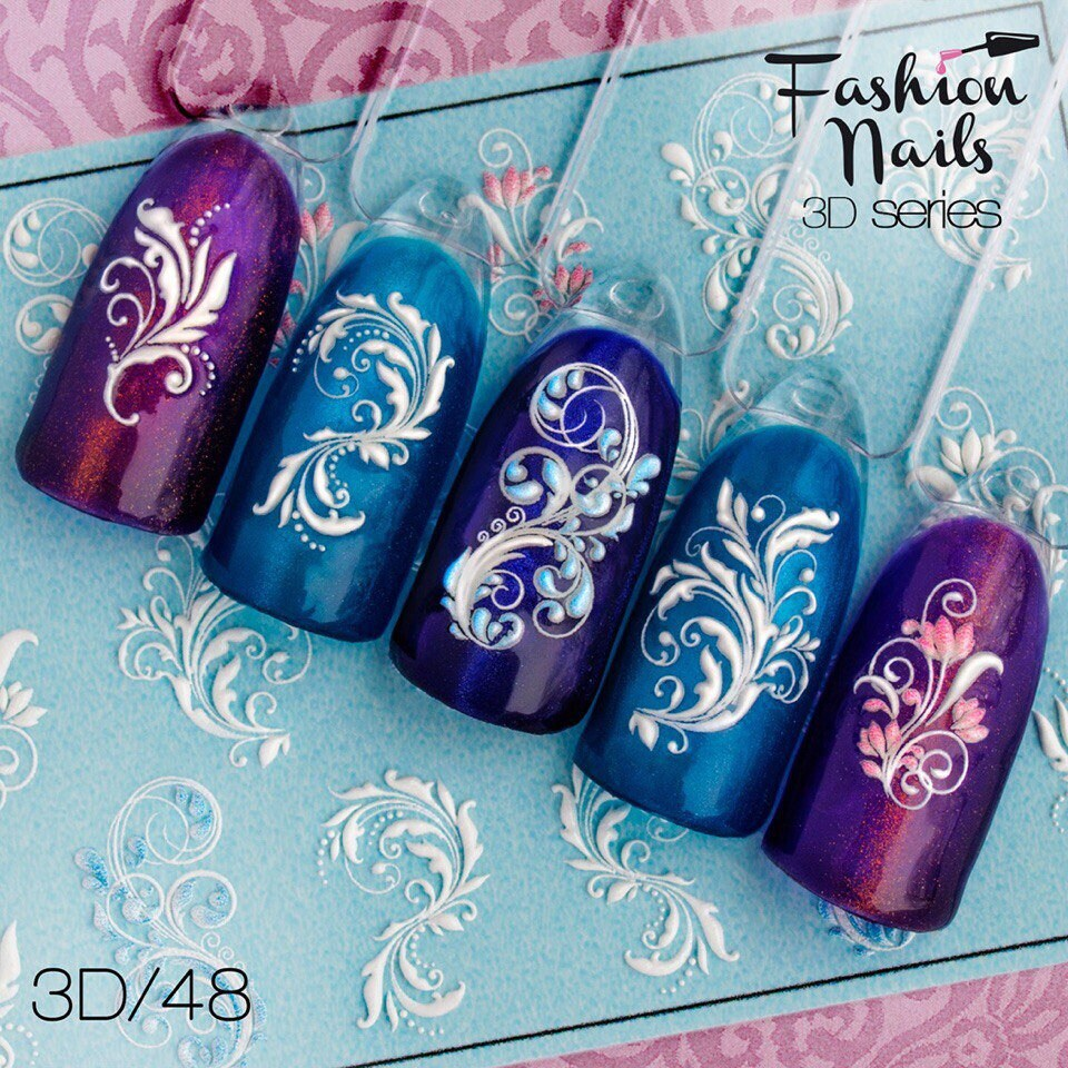 3D nail decal Monogram nail water transfer Nail sticker White nail ...