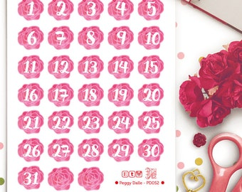 Rose Flowers Watercolor Numbers Countdown Planner Stickers | Erin Condren Vertical Days | Week | Countdown Stickers
