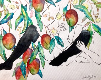 Silk Stockings | Original Abstract Floral and Figurative Watercolor Painting