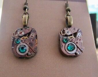 Steampunk watch earrings - Almost Time  - Steampunk Earrings -  - Repurposed art