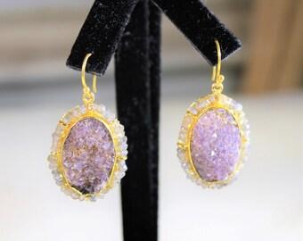 Druzy earrings, drop earrings, purple earrings, dangle earrings, labradorite earrings, gold plated earrings