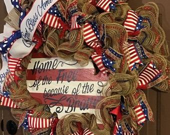 Americana Wreath, Patriotic Wreath, Patriotic Wreath, Summer Wreath, 4th of July Wreath, Everyday Wreath, Front Door Decor,