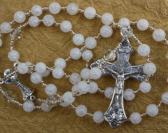 First Communion Rosary Beads in Crackle Glass, Crystals, with Chalice Center