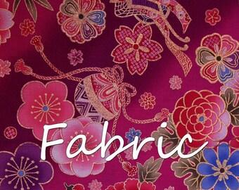 Japanese Cotton 2m/Vintage Kimono Print/ Floral/Cherry Blossoms/Bells/Pink/Purple/Blue/Home Decor/Patchwork.