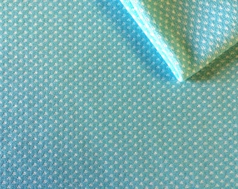 Vintage Fabric 70's Polyester, Turquoise, White, Polka Dot, Material, Textiles