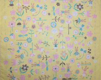 Japanese cotton tenugui hand towel cloth - le sucre bunny rabbit yellow