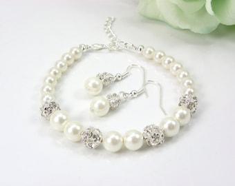 Set of 6 bridesmaid Bracelets And Earrings set, 6 note-card Bridesmaid Pearl Bracelet Dangle Earrings, bridesmaid jewelry, bridesmaid gift