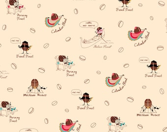 Caf-Fiend from Ink and Arrow Fabrics - Coffee Beans - 24802 -E Cream - 1 Yard