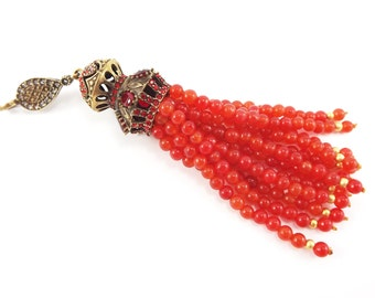 Large Long Orange Jade Stone Beaded Tassel with Red Crystal Accents - Antique Bronze - 1PC