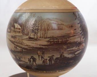 "Vintage 1976 Hallmark Currier & Ives ""American Winter"" glass ball ornament - QX1971"