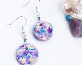Purple Drop Earrings - Designer Hand Painted Ceramic Disc Pendants - Statement Sterling Silver Jewellery, Unique Beautiful Abstract Art Look