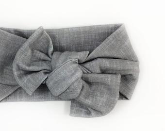 Newborn Headband / Baby Knot Headband / Linen Headband / Baby Girl Headband / Knotted Headband / Grey Headband / Baby Girl Gift / Hair Bow