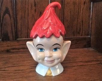 Elf Cookie Jar, Mid-Century Pixie Fairy Jar, Elf Head Cookie Jar, Leaf Hat Pixie, Ceramic Christmas Elf, Creepy Vintage Cookie Jar