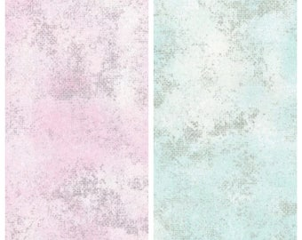 Rustic Pastel Shimmer: Blue or Pink with Silver - 100% Quilting Cotton Fabric [[by the half yard]]