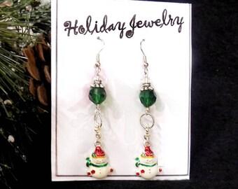 Snowman green earrings - Holiday Fun Beaded earrings - Christmas Jewelry - Christmas  earrings - Christmas party Earrings,-  # J 32