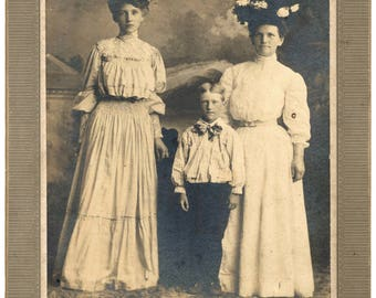 Photo of Two Woman and Boy Big Hats 1910s