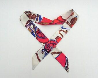 Silk Twilly Scarf, Skinny Scarf, Neck Scarf, Hair Scarf Tie, Handbag Accessory Handle Wrap, Gift for Her, Twilly Bag Scarf