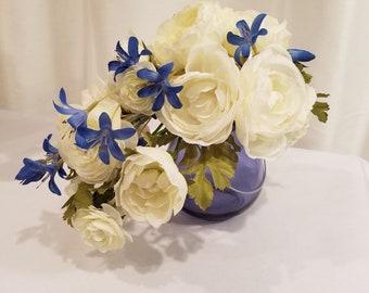Small silk floral arrangement whiteyellowpink s18 96 flowers arrangement small silk floral arrangement mightylinksfo