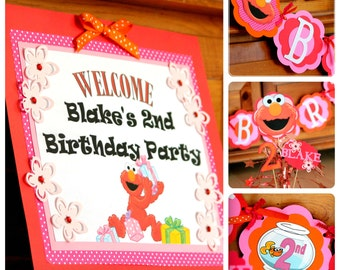 Custom order Fuzzy Girly Red Monster Deluxe Peronsalized Birthday Banner set