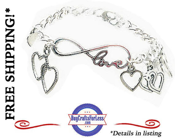 Heart CHARM BRACELET, INFiNITY Style, Gift Box Avail., Best Seller  +FREE SHiPPiNG & Discounts*