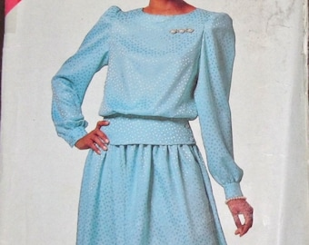 Butterick See & Sew 6515 Vtg 1980s Sewing Pattern Easy Full Sleeve Peplum Top Dirndl Skirt Women's Plus Size 16 18 20 22 24 Bust 38-46 UC FF