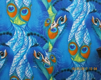 RARE PEACOCK FABRIC - Michelle Palmer for Springs Creative Products Group - 1 Yard - kr31
