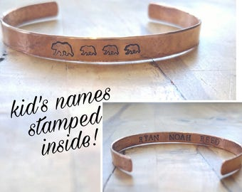 Copper Mama Bear and Baby Bear Bracelet, with Kids Names Stamped Inside, Solid Copper, Hammered, Grandma, Mothers Bracelet, Mom Bangle, Cuff
