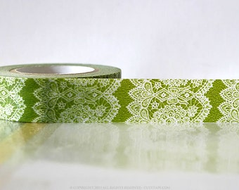 Vertical GREEN Lace Washi Tape Japanese