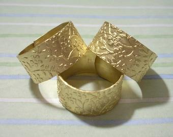 3 Brass Rings Flower Pattern Wide Rings - Ring Blanks Cuff Rings Adjustable Rings