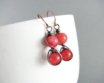 Genuine Red Jade Earrings Wire Wrap Jewelry Copper Earrings Wire Wrap Earrings Copper Jewelry Jade Jewelry