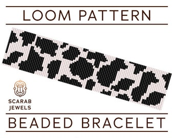 Cow Print Pattern | Loom Beading Bracelet | Cuff Bead Pattern | Miyuki Delica | PDF Instant Download