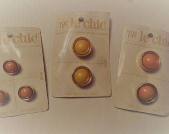 Vintage Pink Hue and Gold Le Chic Buttons