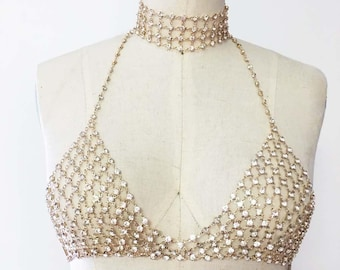 Rhinestone Bralette, Crystal Bralette, Festival Wear, Body-chain, Body Jewellery, Gold Bralette, Harness, Chain Bra, Ibiza, Pool Party,