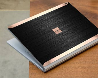 Brushed Black and Rose Gold Edge Vinyl Skin for Microsoft Surface Book , Surface Laptop , Surface Pro 2017  - Platinum Edition