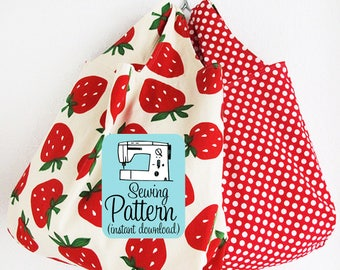 Grocery Bag PDF Sewing Pattern | One hour sewing project to make three sizes of fabric tote bags to use for groceries, project totes, etc..