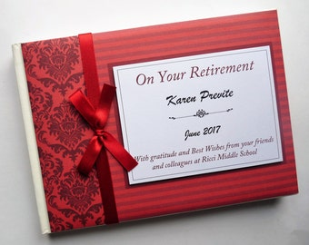 Personalised Retirement/Wedding/Occassion Guest Book (Red)
