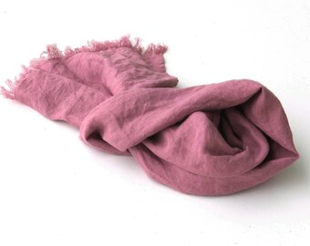 small lilac pink linen scarf