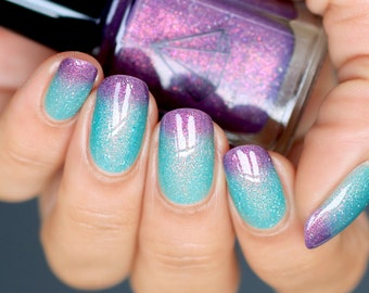 Mer-mazing - a purple to green thermal reactive handmade UK indie nail polish