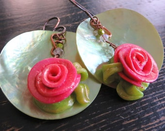 Large Rose Dangle Earrings. GINA. Salmon Pink Polymer Clay Roses with Lime Green Mussel Shells on 18g oxidized copper Ear Wires