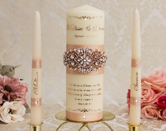 Rose Gold Unity Candle Set Rose Gold Wedding Unity Candles Blush Wedding Candle Personalized Unity Candle Rose Gold Foil Unity Candle